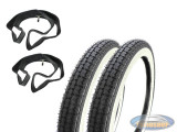 16 inch 2.25x16 Kenda K252 white wall inner tube / tire set