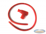 Spark plug cable orange with red spark plug cap