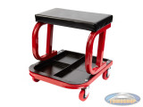 Workshop stool with storage on wheels