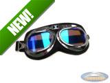 Helmet glasses goggles custom black / chrome with blue mirror glass