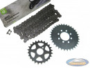 Front sprocket + rear sprocket + Esjot chain (A-quality) for Tomos various models