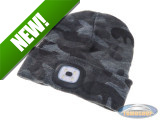 Beanie hat with LED lamp grey camouflage