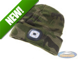 Beanie hat with LED lamp green camouflage