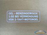 Fuel mix sticker white German version