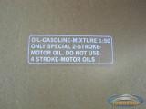 Fuel mix sticker white English version